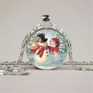 New! Snowman Couple Christmas Necklace